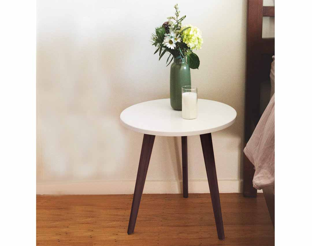 Mid Century Modern End Table Perfect Bedside Nightstand Or Living Room Side Accent Table White Round Tabletop 3 Acacia Legs 2 Pack