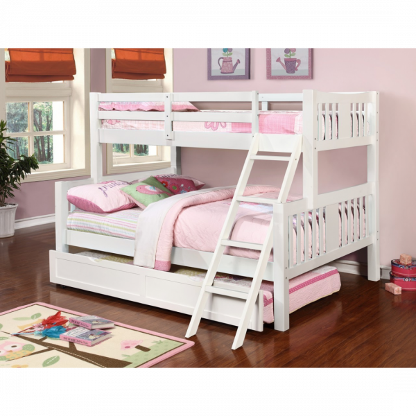 Ashmo Twin Over Queen Bunk Bed With, Queen Bunk Bed With Trundle